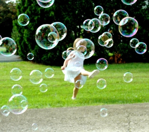 kicking bubbles