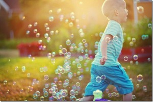 running with bubbles