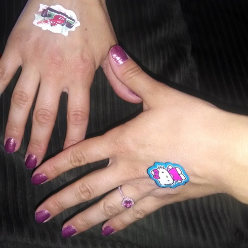 stickers on hands